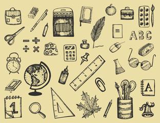 School writing supplies. Stationery for children vector illustration set