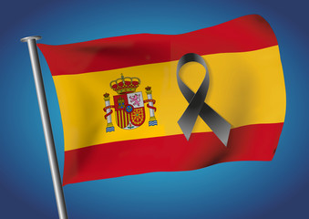 Spain flag waving on the sky with a black ribbon for victims
