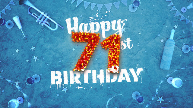 Happy 71st Birthday Card with beautiful details