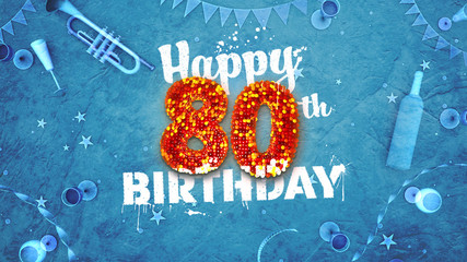 Happy 80th Birthday Card with beautiful details