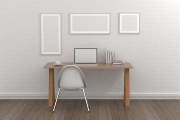 Empty room interior 3d render