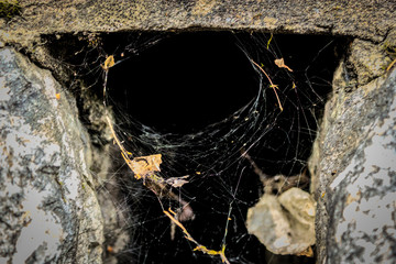 a spiderweb in the hole of a wall, cross painted