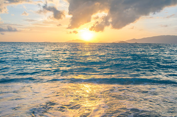 Beautiful sunset at the beach, seascape