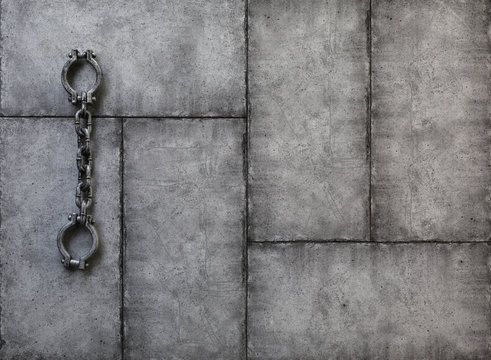 Shackles, slave chains on a dark background,Halloween