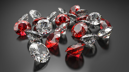 Diamonds and rubies on a black background.