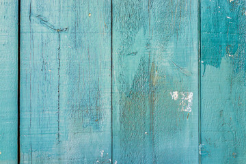 Abstract background pattern of old, vintage painted aqua green wooden panels of house