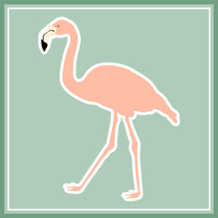 Hand drawn pink flamingo