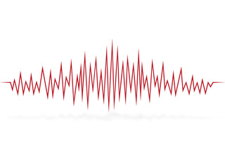 Cardiogram of heartbeat. Pulse. Wave of sound track. Vector illustration.