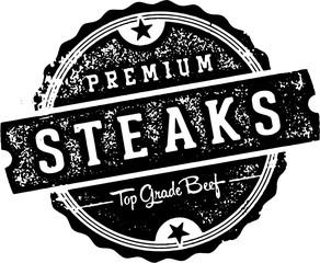 Premium Vintage Beef Steaks Stamp