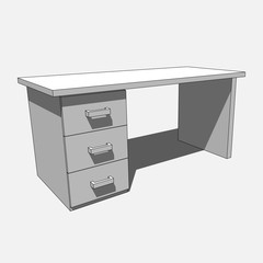 3D image - grayscale desk with three drawers