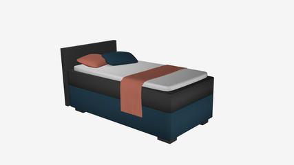 Boxspringbett, einzel aus Seitenansicht in grau-türkis