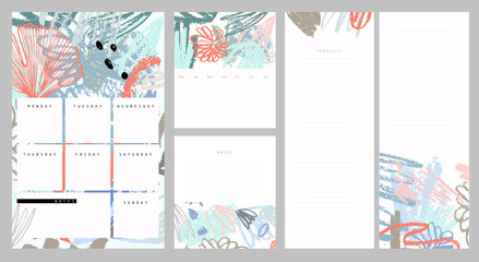 Weekly and daily planner. Notes and to do list set. Hand drawn brush strokes. Abstract tropical background in pastel colors.