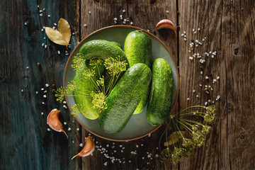 Preparation for pickling fresh cucumbers, garlic, dill and salt. Dark wooden background. Healthy food, a delicious diet.