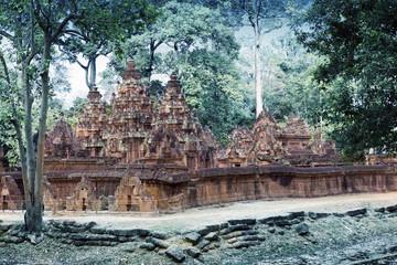 Banteay Srey Temple ruins (Xth Century) , Siem Reap, Cambodia, toning