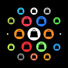 Modernes UI design - eckige Einkaufstasche
