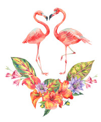 Tuinposter Flamingo Watercolor pink flamingo and tropical flowers