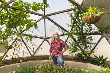 Caucasian woman looking up at hanging plant in greenhouse