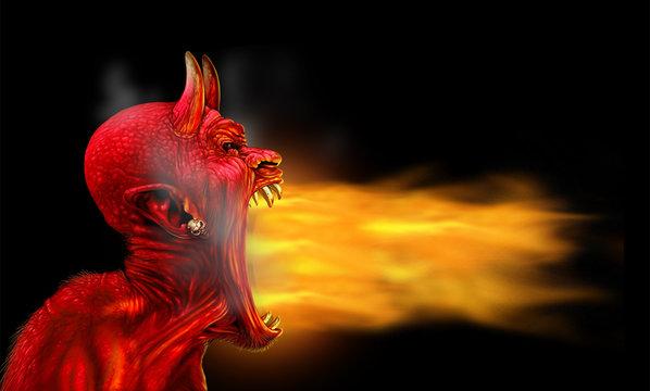 Satan Flames On Black