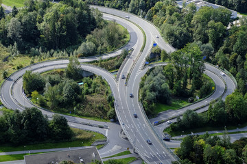 Highway crossroads in Vorarlberg, Austria, Europe