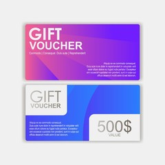 Gift voucher template. Gift certificate for a promotion or a gift. Discount coupons for the purchase. Vector Illustration
