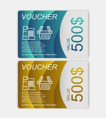 Gift voucher template. Discount voucher template with clean and modern design and place for your business related photos. Vector