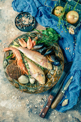 Photo of fish, shrimp, clams