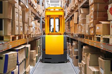 High Rack Stacker Forklift in Warehouse