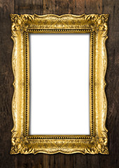 Group of Old Gold Picture Frames on wooden background