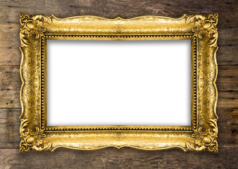 Retro Old Gold Picture Frame on wooden wall
