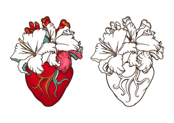 Heart with white lilies in romantic style. Blooming Heart concept.
