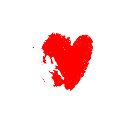 Vector red sign of a heart isolated on white background.