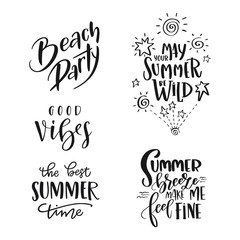 Set of Summer hand drawn brush letterings