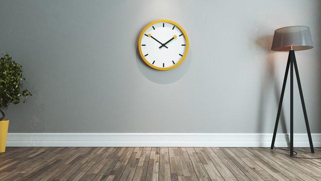 living room interior design idea with big yellow watch