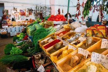Bazar Abundant Counter Of Fragrant Spices Herbs Fresh Greenery,