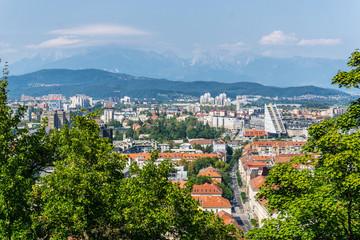 Skyline of Ljubljana city in Slovenia from Ljubljana castle