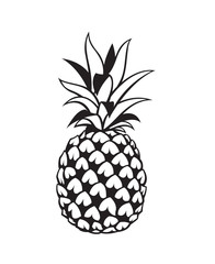 black image of pineapple tropical fruit