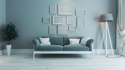 blue color living room with photo frame interior design idea
