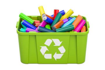 Batteries in recycling bin, 3D rendering