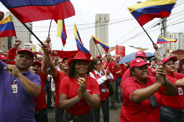 Venezuelan workers from the state oil company PDVSA take part in a protest against U.S. sanctions in Maracaibo
