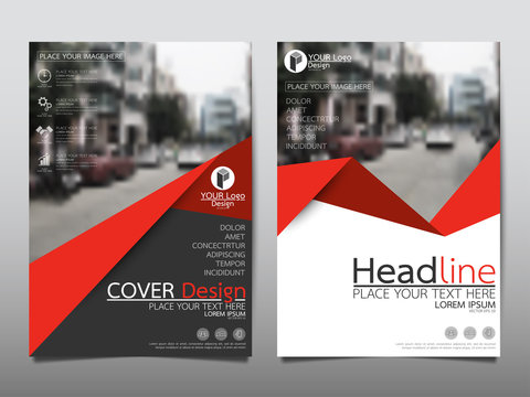 Red flyer cover business brochure vector design, Leaflet advertising abstract background, Modern poster magazine layout template, Annual report for presentation.
