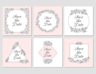 Vectored Rose Frames, Ink Drawn Floral Ornaments, Salmon Pink Flower Backgrounds