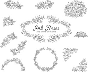 Vectored Rose Frames, Ink Drawn Floral Ornaments, Black and White Flower Backgrounds