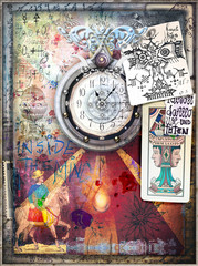 Foto auf AluDibond Phantasie Esoteric background with graffiti,clock,draws and tarots