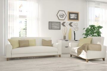 White inspiration of modern room with sofa. Scandinavian interior design. 3D illustration