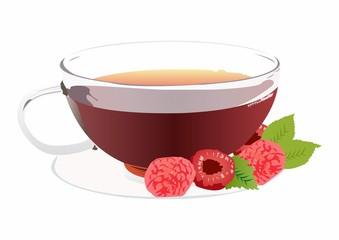 Raspberry Tea with Raspberries