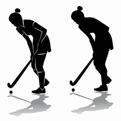 silhouette of a field hockey player, vector draw