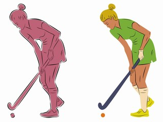 illustration of a field hockey player, vector draw