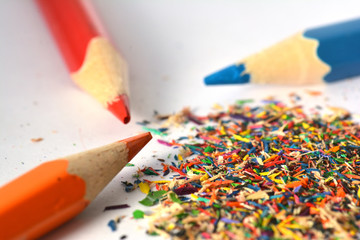 Wooden colorful pencils with sharpening shavings