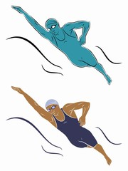 illustration of a swimmer, vector draw