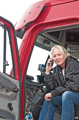 Pretty Woman Truck Driver On Cell Phone
